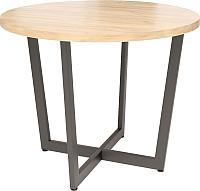 Обеденный стол Millwood Loft O Light D120x75 (дуб золотой Craft/металл черный) -