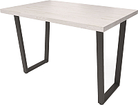 Обеденный стол Millwood Loft U 130x80 (дуб белый Craft/металл черный) -