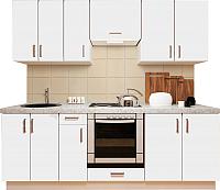 Готовая кухня Хоум Лайн Кристалл плюс 2.3 (белый глянец) -