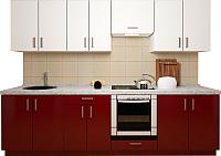 Готовая кухня Хоум Лайн Кристалл плюс 2.6 (бургундский глянец/белый глянец) -