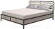 Двуспальная кровать Millwood Neo Loft KM-1 (дуб беленый/металл черный) -