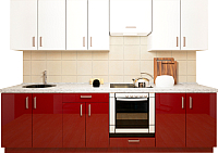 Готовая кухня Хоум Лайн Кристалл плюс 2.9 (бургундский глянец/белый глянец) -