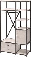 Шкаф Millwood Neo Loft ML-3/L (дуб белый Craft/металл черный) -