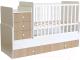 Детская кровать-трансформер Polini Kids Simple 1111 с комодом (белый/ваниль) -