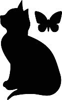 Наклейка грифельная Grifeldecor Кошка с бабочкой / BZ1810-21B236 -