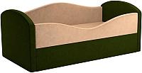 Кровать-тахта Mebelico Сказка 8 / 59529 (вельвет, бежевый/зеленый) -