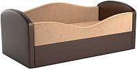 Кровать-тахта Mebelico Сказка 8 / 59528 (вельвет, бежевый/экокожа коричневый) -