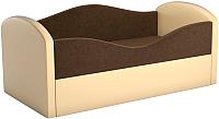 Кровать-тахта Mebelico Сказка 8 / 59534 (вельвет коричневый/экокожа бежевый) -