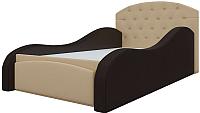 Кровать-тахта Mebelico Майя 10 / 58228 (экокожа, бежевый/коричневый) -