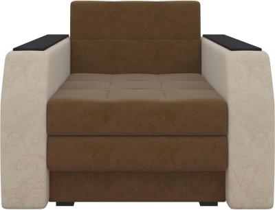 Кресло-кровать Mebelico Атланта 13 (микровельвет, коричневый/бежевый)