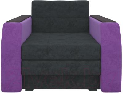 Кресло-кровать Mebelico Атланта 13 (микровельвет, черный/фиолетовый)