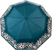 Зонт складной Капелюш 15121 (зеленый/бежевые цветы) -