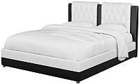 Двуспальная кровать Mebelico Камилла 18 / 59558 (экокожа, белый/черный) -