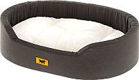 Лежанка для животных Ferplast Dandy 45 F / 82941097 (с мехом, черный/серый) -