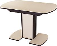 Обеденный стол Домотека Румба ПО 80x120-157 (бежевый/венге/05) -