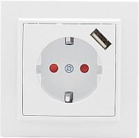 Розетка EKF Минск СП 1-м 16А + USB с защитными шторками (белый) -