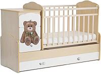 Детская кроватка СКВ Мишка / 920035-1 (береза/белый) -