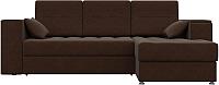 Диван угловой Лига Диванов Атлантис 126 правый / 57763 (микровельвет коричневый) -
