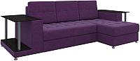 Диван угловой Mebelico Даллас правый / 58640 (вельвет, фиолетовый) -