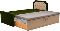 Двуспальная кровать Mebelico Севилья 30 / 59587 (микровельвет, зеленый/бежевый) -