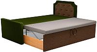 Двуспальная кровать Mebelico Севилья 30 / 59588 (микровельвет, зеленый/коричневый) -