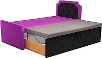 Двуспальная кровать Mebelico Севилья 30 / 59589 (микровельвет, фиолетовый/черный) -
