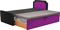 Двуспальная кровать Mebelico Севилья 30 / 59590 (микровельвет, черный/фиолетовый) -