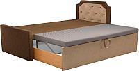 Двуспальная кровать Mebelico Севилья 30 / 59591 (микровельвет, коричневый/бежевый) -