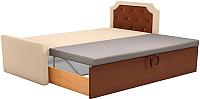Двуспальная кровать Mebelico Севилья 30 / 59592 (рогожка, бежевый/коричневый) -