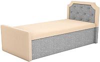 Двуспальная кровать Mebelico Севилья 30 / 59593 (рогожка, бежевый/серый) -