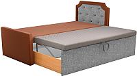 Двуспальная кровать Mebelico Севилья 30 / 59594 (рогожка, коричневый/серый) -