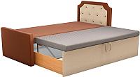 Двуспальная кровать Mebelico Севилья 30 / 59595 (рогожка, коричневый/бежевый) -