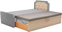 Двуспальная кровать Mebelico Севилья 30 / 59596 (рогожка, серый/бежевый) -