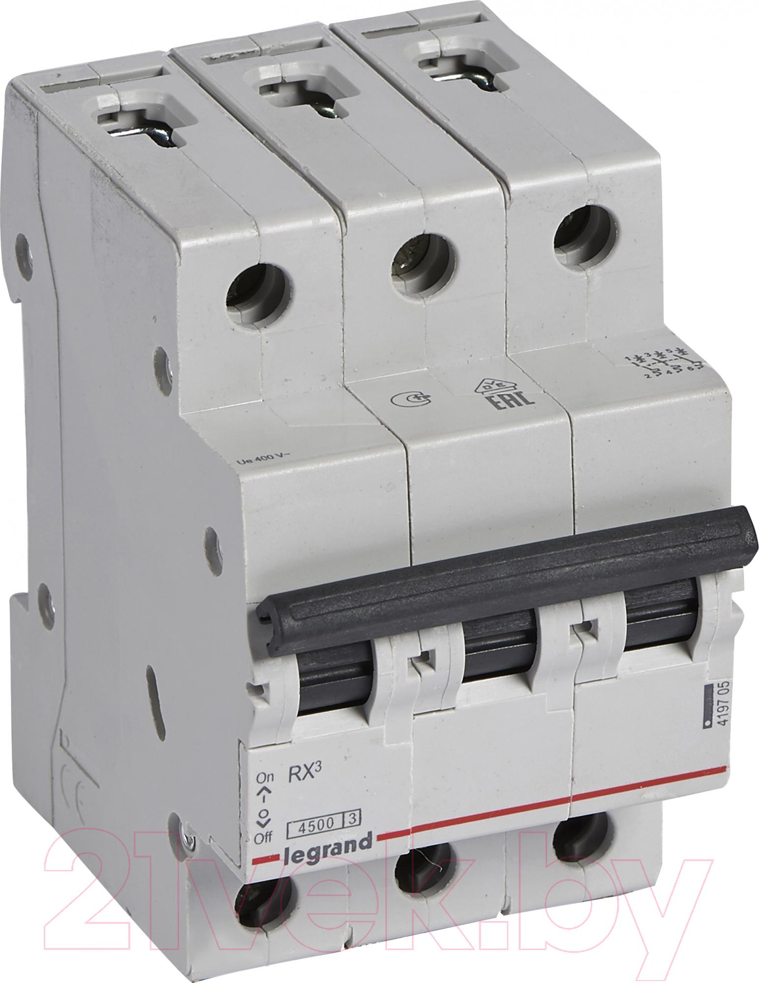Купить Выключатель автоматический Legrand, RX3 3P C 63A 4, 5кА 3M, Франция