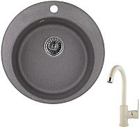 Мойка кухонная Granula GR-4801 + смеситель 35-05 (графит/пирит) -
