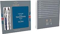 Письменный набор Parker Jot Wtrloo Blue CT + SS CT + блокнот / 2062782 -