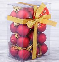 Набор ёлочных игрушек Зимнее волшебство 2155303 (матовый красный, 24шт) -
