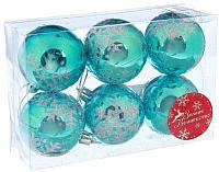 Набор ёлочных игрушек Зимнее волшебство Глянец снежинка / 2178174 (голубой, 6шт) -