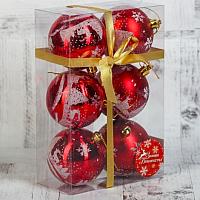 Набор ёлочных игрушек Зимнее волшебство Зимний лес / 3249235 (красный, 6шт) -