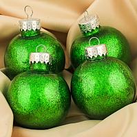 Набор ёлочных игрушек Зимнее волшебство Блестки / 3505690 (зеленый, 4шт) -