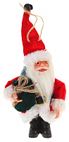 Подвеска новогодняя Зимнее волшебство Дед Мороз в красной шубе с зеленым мешком / 3555379 -