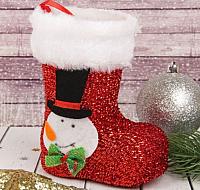 Фигура под ёлку Зимнее волшебство Сапожок со снеговиком / 2172620 (красный) -