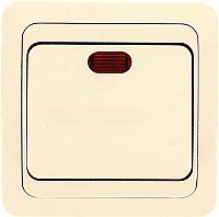 Выключатель EKF Лондон 1кл 10А с индикатором / EEV10-121-20 (бежевый) -