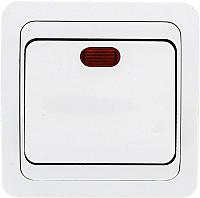 Выключатель EKF Лондон 1кл 10А с индикатором / EEV10-121-10 (белый) -