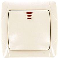 Выключатель EKF Мадрид 1кл 10А с индикатором / EIV10-121-20 (бежевый) -