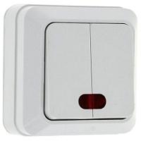 Выключатель EKF Рим 2кл 10А с индикатором / ENV10-123-10 (белый) -