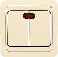 Выключатель EKF Лондон 2кл 10А с индикатором / EEV10-123-20 (бежевый) -