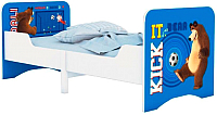 Односпальная кровать Polini Kids Fun 3200 Маша и Медведь (синий) -