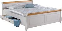 Каркас кровати ММЦ Мальта 160 с ящиком (белый воск/антик) -