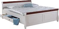 Каркас кровати ММЦ Мальта 160 с ящиком (белый воск/колониал) -